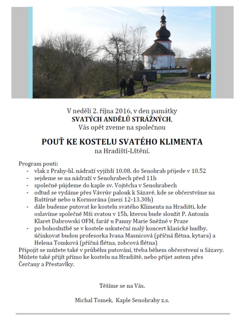 pozvánka na pouť – sv. Kliment 2016